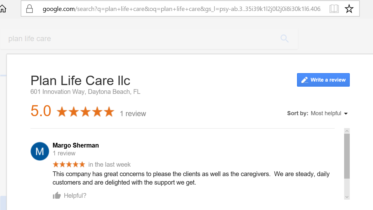 google place review - Plan Life Care
